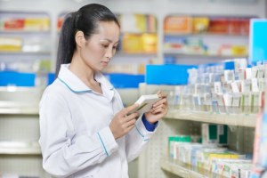 pharmacist looking for medicines